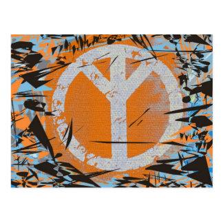 Postal de la paz, símbolo de paz anaranjado del fo