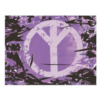 Postal de la paz, símbolo de paz púrpura del fondo