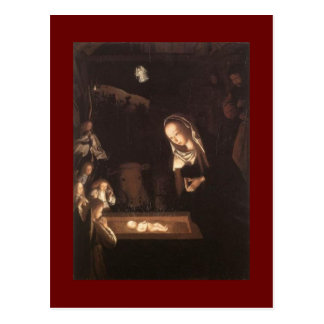 Postal de la pintura de escena de la natividad de