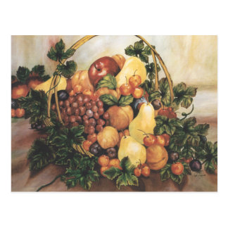 Postal de la pintura de la cesta de fruta