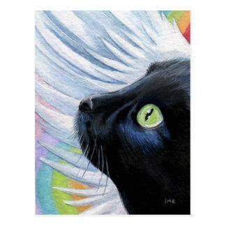Postal de la pintura del gato del ángel del final