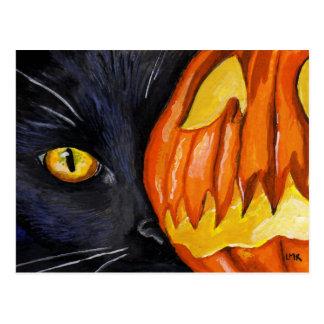 Postal de la pintura del gato negro y de la calaba