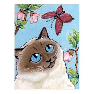 Postal de la pintura del gato y de la mariposa de