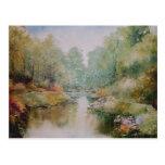 Postal de la pintura del paseo del río