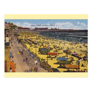 Postal de la playa de Atlantic City del vintage