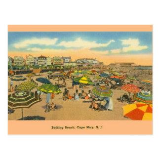 Postal de la playa de baño de Cape May New Jersey