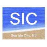 Postal de la playa de la ciudad NJ de la isla del