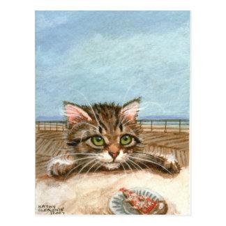 Postal de la playa de la pizza del gato del gatito