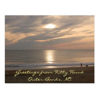 Postal de la playa de la puesta del sol de Outer B