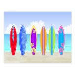 Postal de la playa de las tablas hawaianas