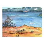 Postal de la playa del verano del lago Tahoe
