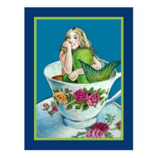 Postal de la postal del té de la sirena