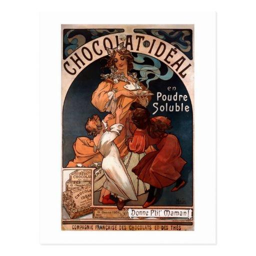 Postal de la publicidad del chocolate de Nouveau