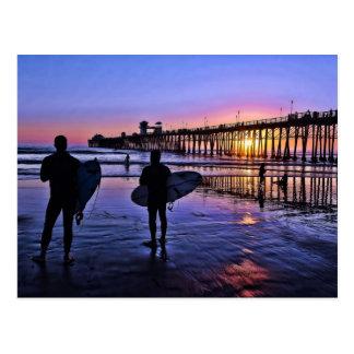 Postal de la puesta del sol de California meridion