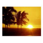 Postal de la puesta del sol de Hawaii
