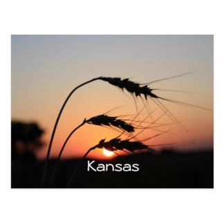 Postal de la puesta del sol de Kansas