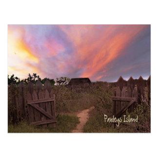 Postal de la puesta del sol de la isla de Pawleys