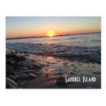 Postal de la puesta del sol de la isla de Sanibel