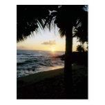 Postal de la puesta del sol de la playa de St Thom