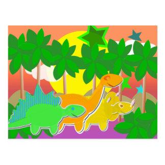 Postal de la puesta del sol de los dinosaurios
