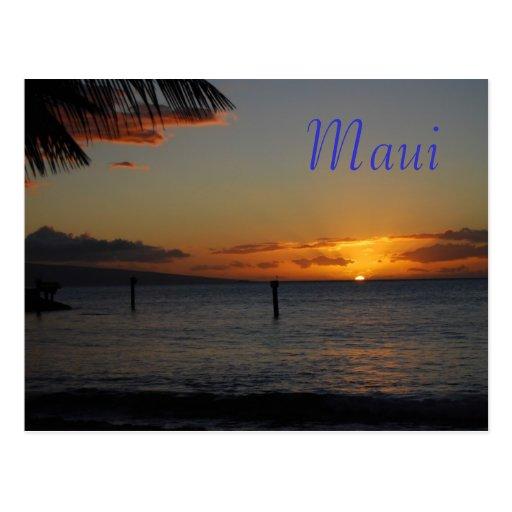 Postal de la puesta del sol de Maui