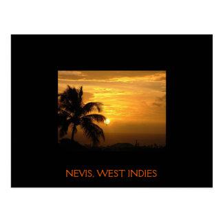 Postal de la puesta del sol de Nevis
