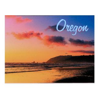 Postal de la puesta del sol de Oregon