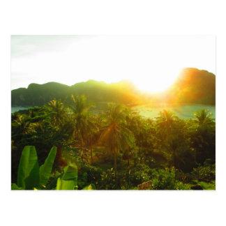 Postal de la puesta del sol de Tailandia