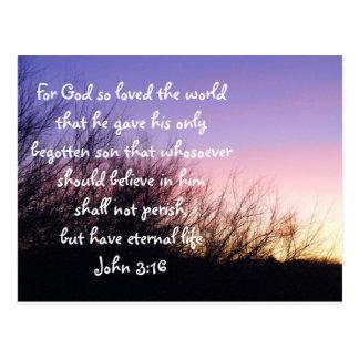 Postal de la puesta del sol del 3:16 de Juan
