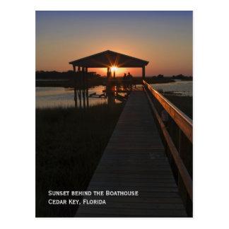 Postal de la puesta del sol del Boathouse