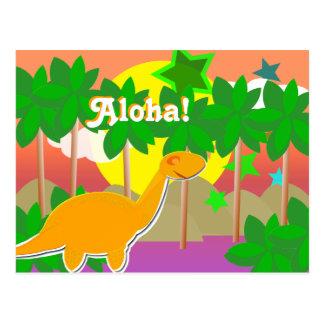 Postal de la puesta del sol del dinosaurio de la h