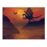 Postal de la puesta del sol del dragón