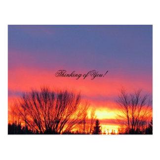 Postal de la puesta del sol del invierno