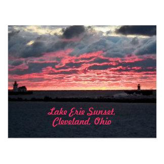 Postal de la puesta del sol del lago Erie (Clevela