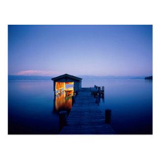 Postal de la puesta del sol del lago Tahoe