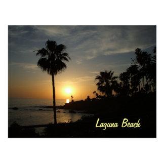 Postal de la puesta del sol del Laguna Beach