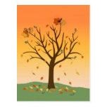 Postal de la puesta del sol del otoño