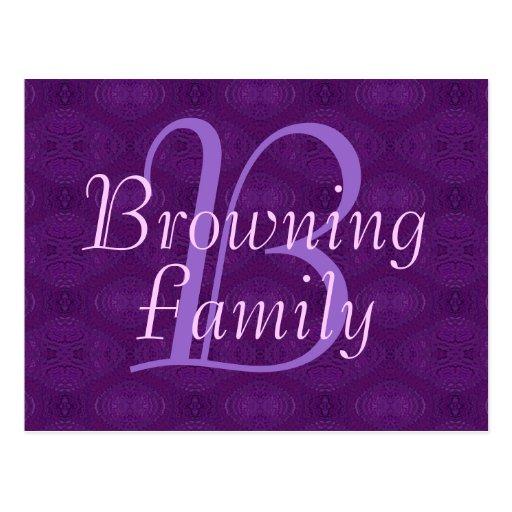Postal de la púrpura del monograma (familia)