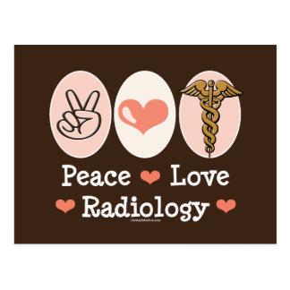 Postal de la radiología del amor de la paz