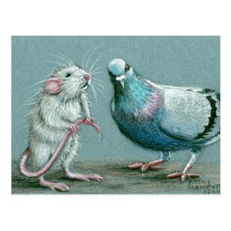 Postal de la rata y de la paloma