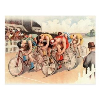 Postal de la raza de bicicleta del vintage
