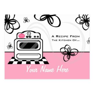 Postal de la receta - cocina rosada moderna de la