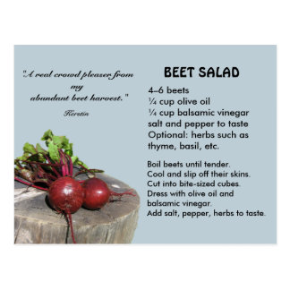Postal de la receta de la ensalada de la remolacha