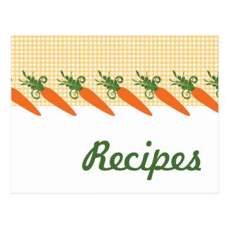 Postal de la receta de la zanahoria de la guinga
