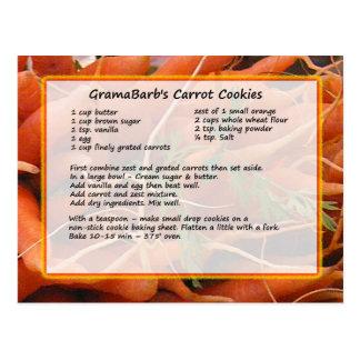 Postal de la receta de las galletas de la zanahori