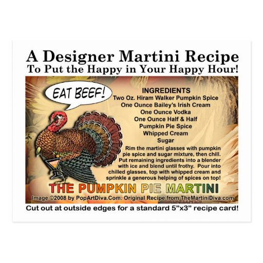 Postal de la receta de Martini de la acción de gra