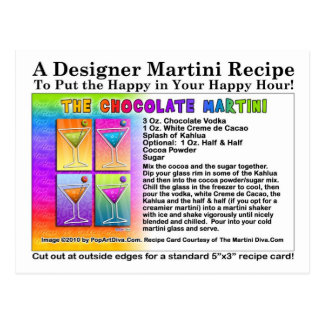 Postal de la receta de Martini del chocolate