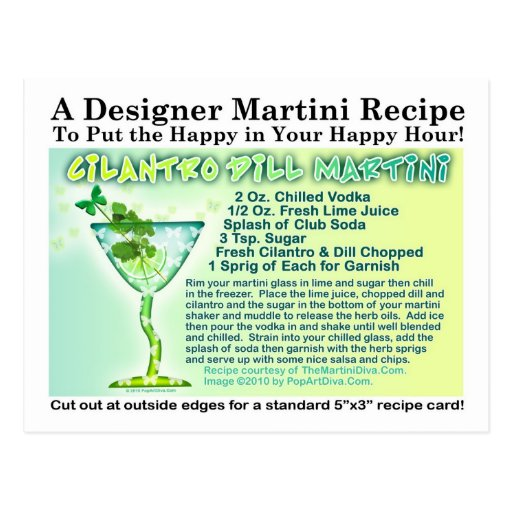 Postal de la receta de Martini del eneldo del Cila