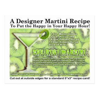 Postal de la receta de Martini del kiwi