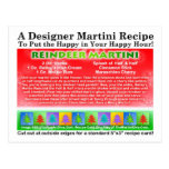 Postal de la receta de Martini del navidad del ren